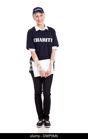 portrait of young charity worker holding donation papers isolated on white - Stock Photo