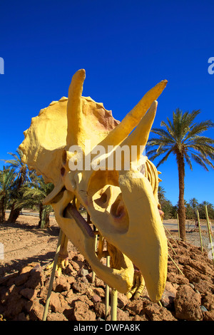 Full Scale Maquette Of A Triceratops, Tahiri Museum, Rissani, Morocco, North Africa - Stock Photo