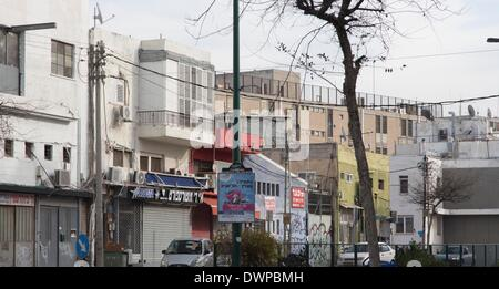 old buildings in poor Southern neighbourhood Florentin in Tel Aviv near the Old Bus Station, pictured 21.02.2014 - Stock Photo