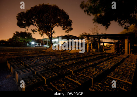 Night at the construction materials plant Industrias Gordon S.A. in Penonome, Cocle province, Republic of Panama. - Stock Photo