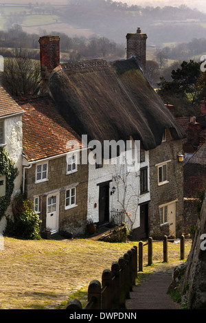 Gold Hill in the town of Shaftsbury in the southwest of England. - Stock Photo