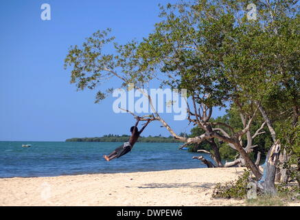 Inhaca Island, Mozambique. 23rd Feb, 2013. A child swings on the branch of a tree on a beach of Inhaca Island, Mozambique, - Stock Photo