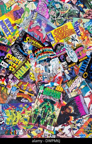 Marvel and DC superhero comic books - Stock Photo