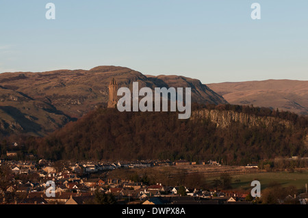 View of Bridge of Allan viewed from the grave yard near Stirling Castle. The Wallace monument can be seen in distance. - Stock Photo