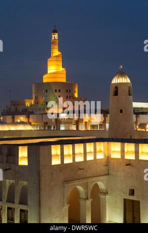 Doha, Qatar, spiral mosque of the Kassem Darwish Fakhroo Islamic Centre - Stock Photo