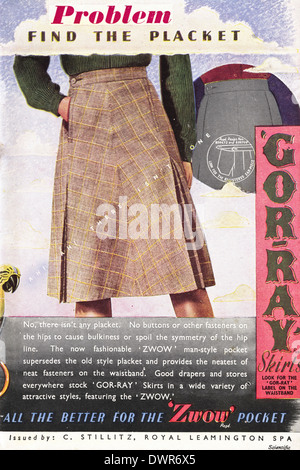 1940s wartime advertisement in magazine for young women circa 1944 advertising GOR-RAY SKIRTS - Stock Photo