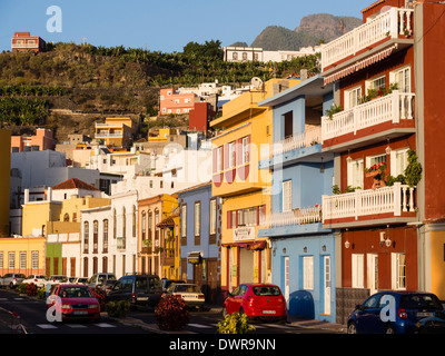 Facades in the town of Tazacorte on the Canary Island of La Palma. - Stock Photo