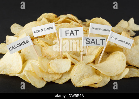 Junk food concept. Potato chips and flags showing unhealthy ingredients - Stock Photo