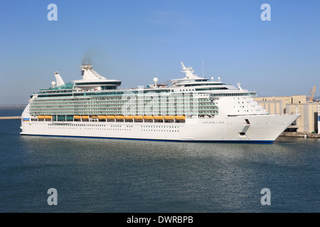 Royal Caribbean cruise ship Navigator of the Seas leaving her berth in Cadiz Spain - Stock Photo