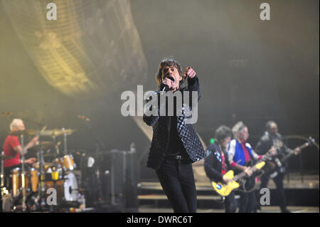 Shanghai, China. 12th Mar, 2014. Mick Jagger of The Rolling Stones performs during their concert at Mercedez-Benz - Stock Photo