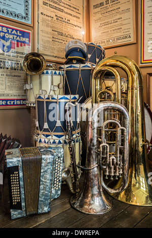 Musical instruments of Belgian fanfare orchestra / brass band at the House of Alijn museum, Ghent, Belgium - Stock Photo