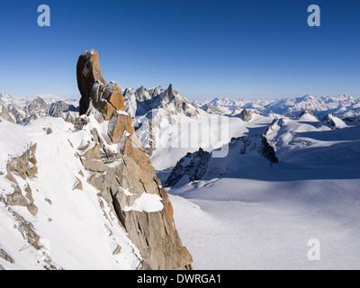 Le Piton Sud rock spur on Aiguille du Midi in Mont Blanc Massif. Chamonix-Mont-Blanc, Haute Savoie, Rhone-Alpes, - Stock Photo