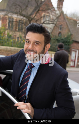 Adam Richman of Man Vs Food presenter leaving Oxford union after his talk. - Stock Photo