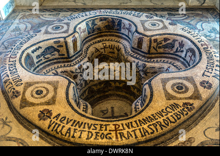 North Africa, Tunisia, Tunis. The Bardo Museum. Basin serving as giant clam. Mosaic. - Stock Photo