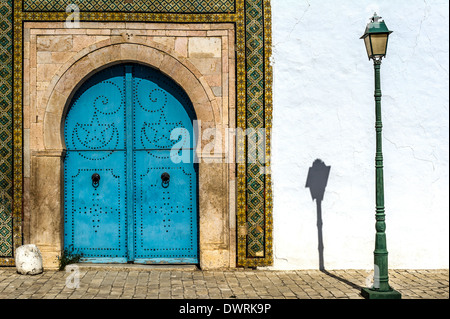 North Africa, Tunisia, Tunis. The Bardo Museum. Typical traditional Tunisian door. - Stock Photo