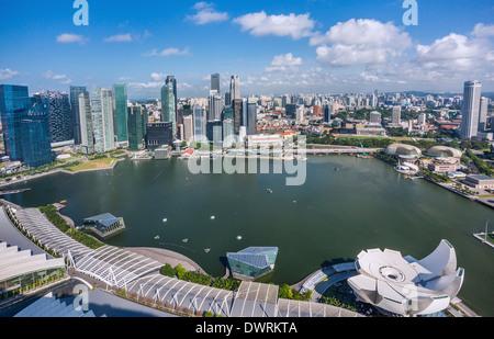 Singapore, panoramic view of Marina Bay and the Singapore CBD - Stock Photo