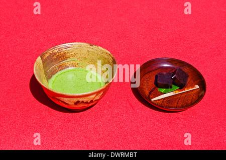 Japanese green tea with 'wagashi' sweets served in Kamakura, Japan - Stock Photo