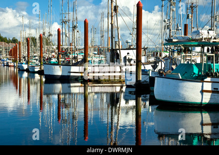 Sailing and fishing boats at anchor in the inner harbour for Newport harbor fishing