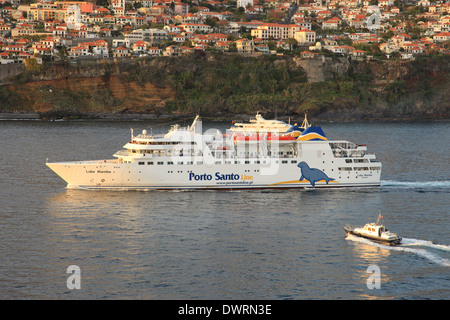Porto Santo Line ferry mv Lobo Marinho entering Funchal harbor Madeira - Stock Photo