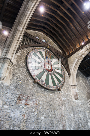 The Winchester Round Table a large tabletop hanging in the Great Hall at Winchester Castle in Hampshire, England, - Stock Photo
