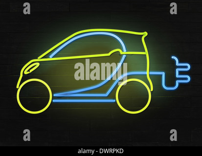 Illustrative image of electric car and plug representing go green concept - Stock Photo
