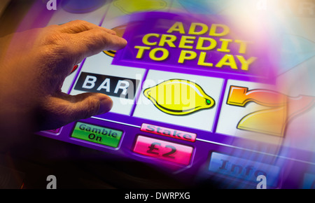 Fixed odds gaming machine in Bookmakers. UK - Stock Photo