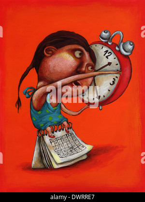 Illustrative image of girl with alarm clock and calendar representing time management - Stock Photo