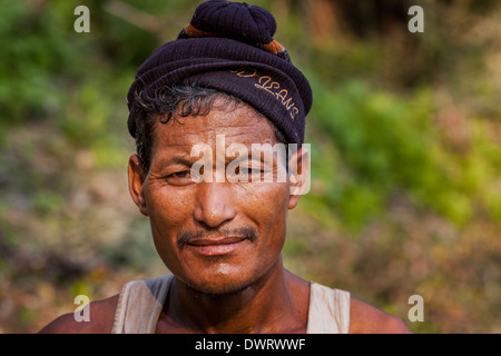 Portrait of a man from the Mishing tribe, Majuli, Assam, India - Stock Photo