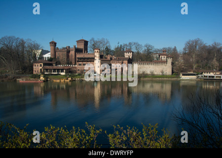 Medieval Village reflected in the Po river, Turin, Italy, Europe - Stock Photo