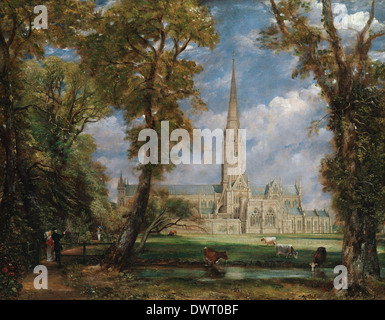 John Constable - Salisbury Cathedral from the Bishop's Grounds - Stock Photo