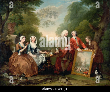 William Hogarth - Conversation Piece (Portrait of Sir Andrew Fountaine with Other Men and Women) - Stock Photo