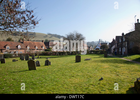 St Mary the Virgin Church Grounds overlooking Turville Village in Buckinghamshire in UK - Stock Photo