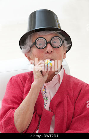 Disguised elderly person - Stock Photo