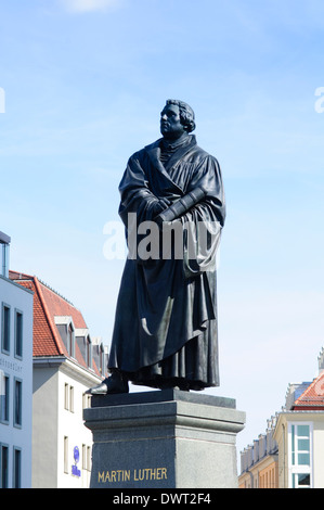 Germany, Saxony, Dresden, Neumarkt Square, Statue of Martin Luther in front of Frauenkirche Church of Our Lady - Stock Photo