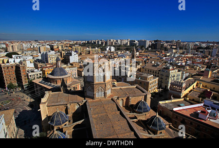A general view of the Cathedral and beyond from the top of La Miguelete, the tower of Valencia Cathedral, Valencia, - Stock Photo