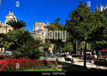 A general view of people relaxing and going about their day in the Plaza de la Reina, Valencia, Spain - Stock Photo
