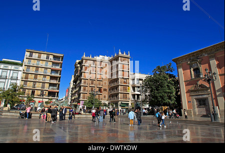 A general view of the Plaza de la Virgen on a sunny day - Stock Photo