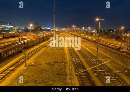 Ingolstadt North Train station at night - Stock Photo
