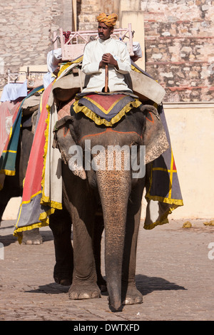 Amber (or Amer) Palace, near Jaipur, Rajasthan, India. Mahout on Elephant used to Carry Tourists to the Palace Courtyard. - Stock Photo