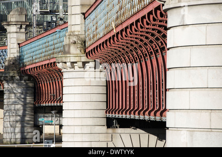 Railway bridge over the Clyde at the approach to Central Station, Glasgow, - Stock Photo