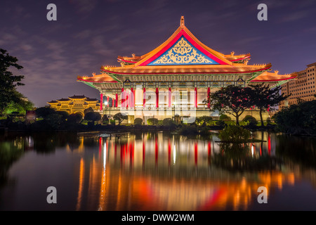 National concert hall at night in Taipei, Taiwan - Stock Photo