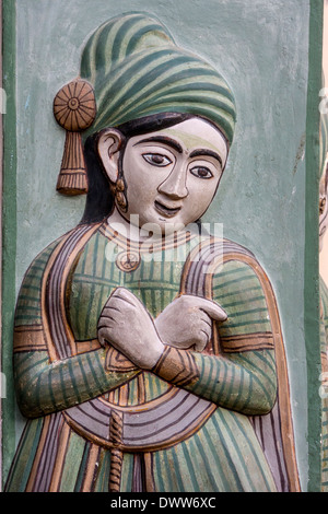 Jaipur, Rajasthan, India. Figure on the Right Portal of the Peacock Gate, City Palace. - Stock Photo