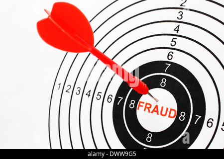Fraud text on target - Stock Photo