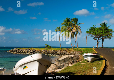 panga native boats on shore North End Big Corn Island Nicaragua Central America - Stock Photo