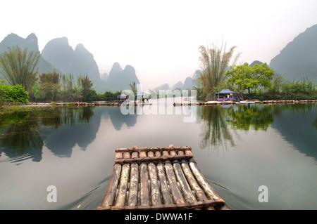 View of the River Li. China, Yangshuo Guilin, Guangxi. - Stock Photo