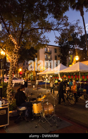Tuesday evening Farmers Market along State Street in Santa Barbara on Central Coast of California USA - Stock Photo