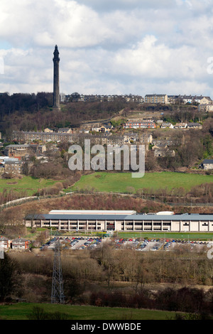Lloyds Bank Data Centre with Wainhouse Tower in the distance, Copley, West Yorkshire - Stock Photo