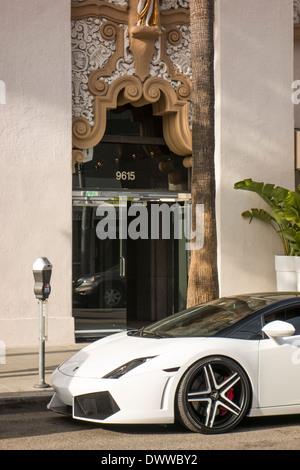 Lamborghini sports car in Beverly Hills Los Angeles California USA - Stock Photo