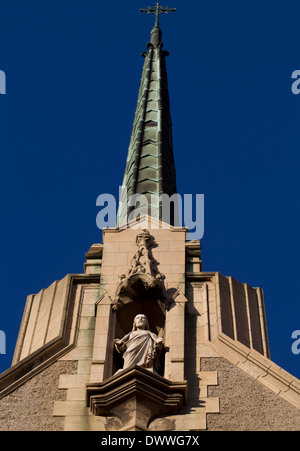 The steeple of the Cathedral Church of Saint Mary the Virgin (Anglican) in Port Elizabeth, South Africa, 23 February, - Stock Photo
