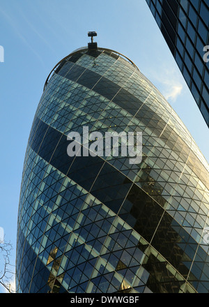 The Gherkin, Swiss Re Tower, 30 St Mary Axe, London, England - Stock Photo